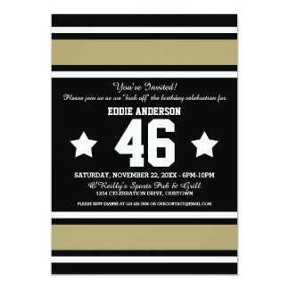 Black|Gold Football Jersey Stripes Card
