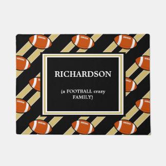 Black Gold Football  Pattern Doormat