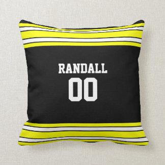 Black & Gold Football Team Personalized Cushion