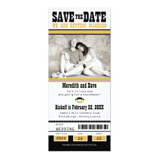 Black Gold Football Ticket Wedding Save the Date 10 Cm X 24 Cm Invitation Card