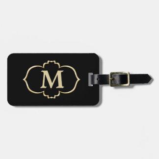 Black Gold Frame Monogram Travel Bag Tags
