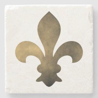 Black Gold French Fleur de Lis Stone Coaster