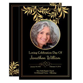 Black & Gold Funeral Program Card
