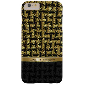 Black & Gold Geometric Pattern Barely There iPhone 6 Plus Case