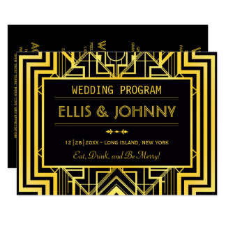Black & Gold Geometric Wedding Programs