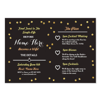 Black & Gold Glitter Bachelorette Itinerary Invite