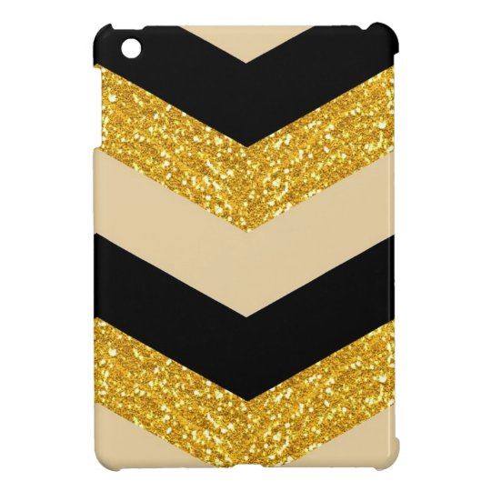 Black & Gold Glitter Chevron iPad Mini Case