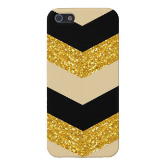 Black & Gold Glitter Chevron iPhone 5/5S Case