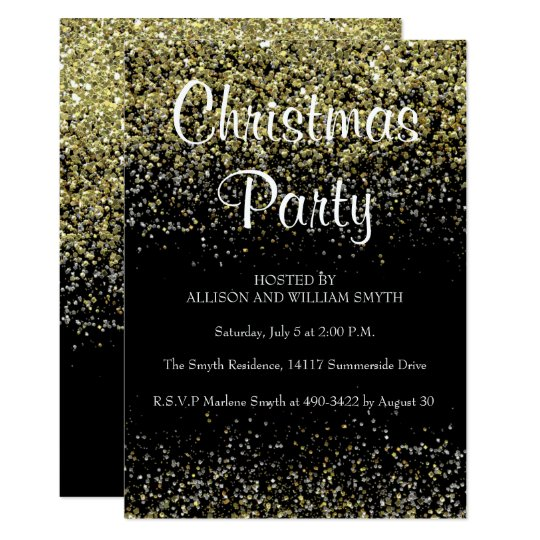 Black & Gold Glitter Christmas Party Invitations