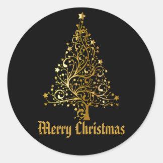 Black Gold Glitter Christmas Tree Holiday Round Sticker