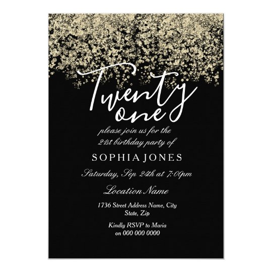 black gold glitter confetti 21st birthday party invitation zazzle