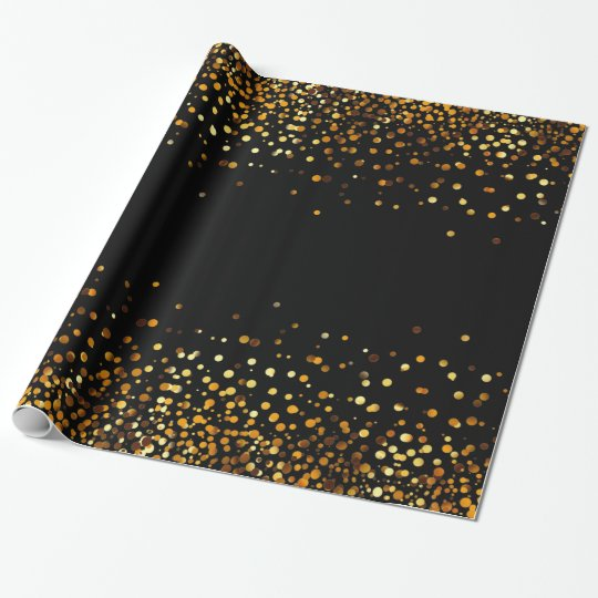 Black Gold Glitter Confetti Faux Foil Wrapping Paper
