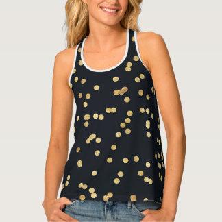 Black Gold Glitter Confetti Polka Dots Tank Top