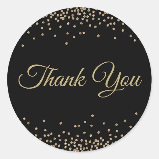 Black Gold Glitter Confetti Thank You Classic Round Sticker
