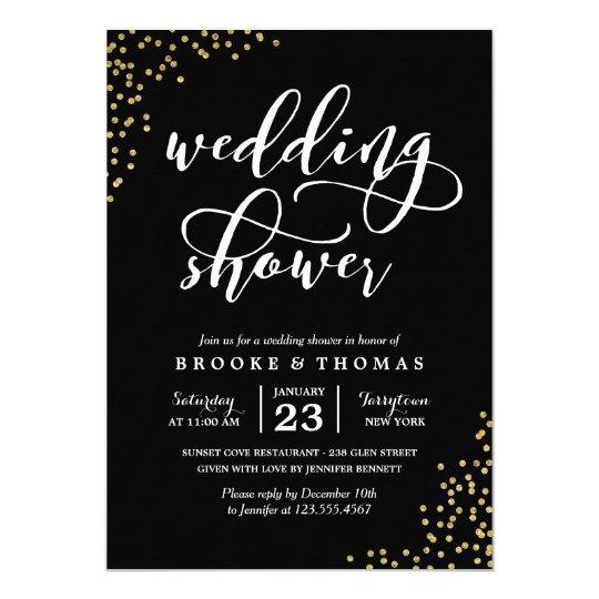 Black Gold Glitter Confetti Wedding Shower Card