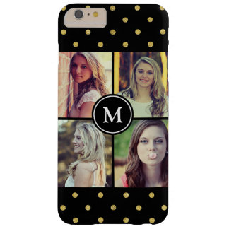 Black Gold Glitter Dots Photo Collage Monogrammed Barely There iPhone 6 Plus Case