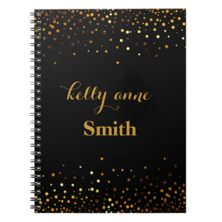 Black Gold Glitter Faux Foil Glamorous kraft Notebook
