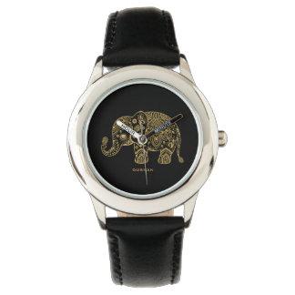 Black & Gold Glitter Floral Elephant Illustration Wristwatches