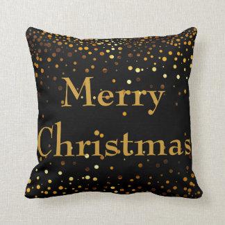 Black Gold Glitter Foil Confetti Merry Christmas Cushion