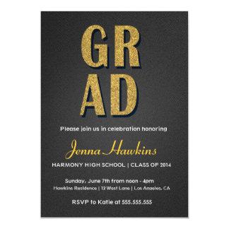 Black & Gold Glitter Graduation Invitation