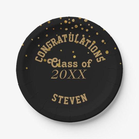 Black Gold Glitter Graduation Party | Congrats Paper