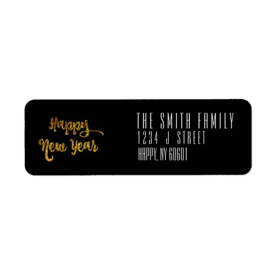 Black & Gold Glitter Happy New Year Address Labels