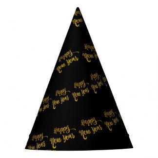 Black & Gold Glitter Happy New Year Party Hats