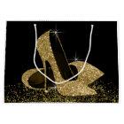 Black Gold Glitter High Heel Shoes Large Gift Bag