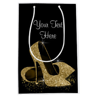 Black Gold Glitter High Heel Shoes Medium Gift Bag