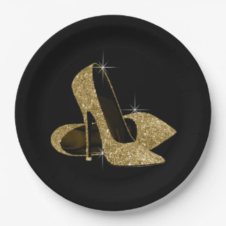 Black Gold Glitter High Heel Shoes Paper Plate