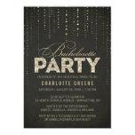Black & Gold Glitter Look Bachelorette Party 13 Cm X 18 Cm Invitation Card