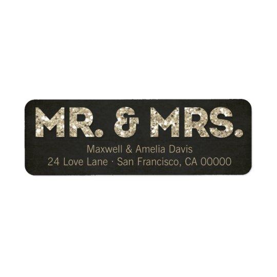 Black & Gold Glitter Look Mr. & Mrs. Labels
