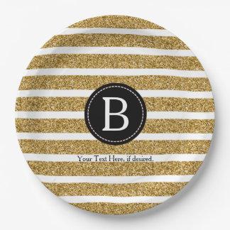 Black & Gold Glitter Monogram Paper Plate