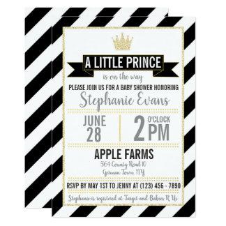 Black Gold Glitter Prince Baby Shower Invite