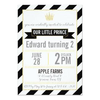Black Gold Glitter Prince Birthday Invitation
