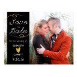 Black / Gold Glitter Save the Date Photo Postcard