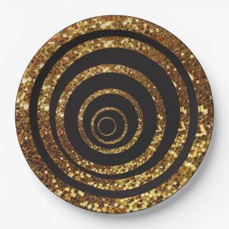 Black & Gold Glitter Swirl and Polka Dot Plates