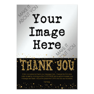 Black & Gold Glitter THANK YOU--hand write on back Card