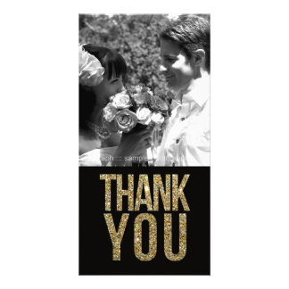 Black & Gold Glitter Thank You Photo Cards Photo Card