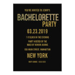 Black Gold Glitter Typography Bachelorette Invite 13 Cm X 18 Cm Invitation Card
