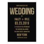 Black & Gold Glitter Typography Wedding Invitation 13 Cm X 18 Cm Invitation Card