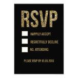 Black & Gold Glitter Typography Wedding RSVP Cards 9 Cm X 13 Cm Invitation Card