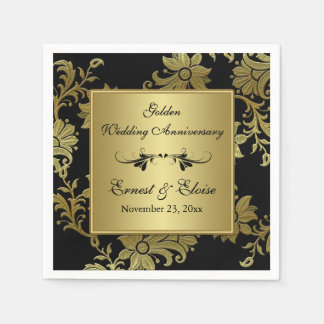 Black, Gold Golden Wedding Anniversary Napkins Paper Serviettes