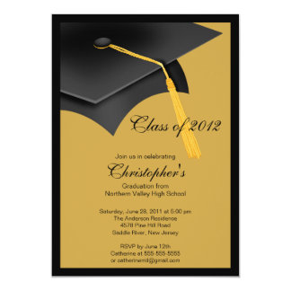Black Gold Grad Cap Graduation Party Invitation