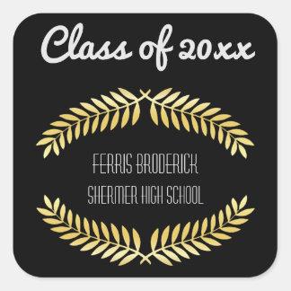 Black Gold Graduation Party Favor | Class Year Square Sticker