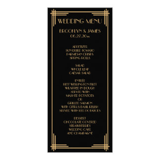 Black Gold Great Gatsby Art Deco Wedding Menu Card