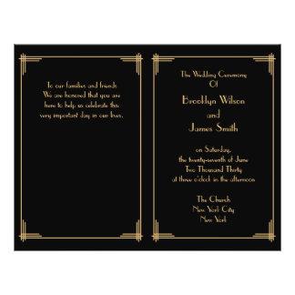 Black Gold Great Gatsby Art Deco Wedding Programs 21.5 Cm X 28 Cm Flyer