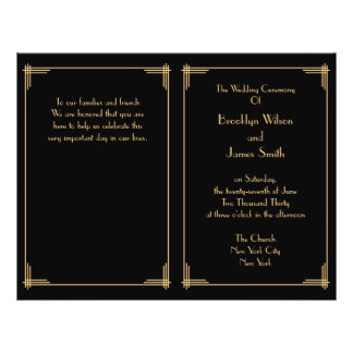 Black Gold Great Gatsby Art Deco Wedding Programs 21.5 Cm X 28 Cm Flyer