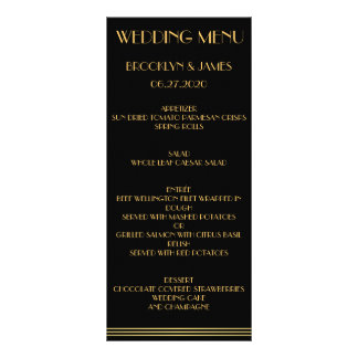 Black Gold Great Gatsby Wedding Menu Cards Rack Card