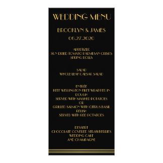 Black Gold Great Gatsby Wedding Menu Cards Rack Card